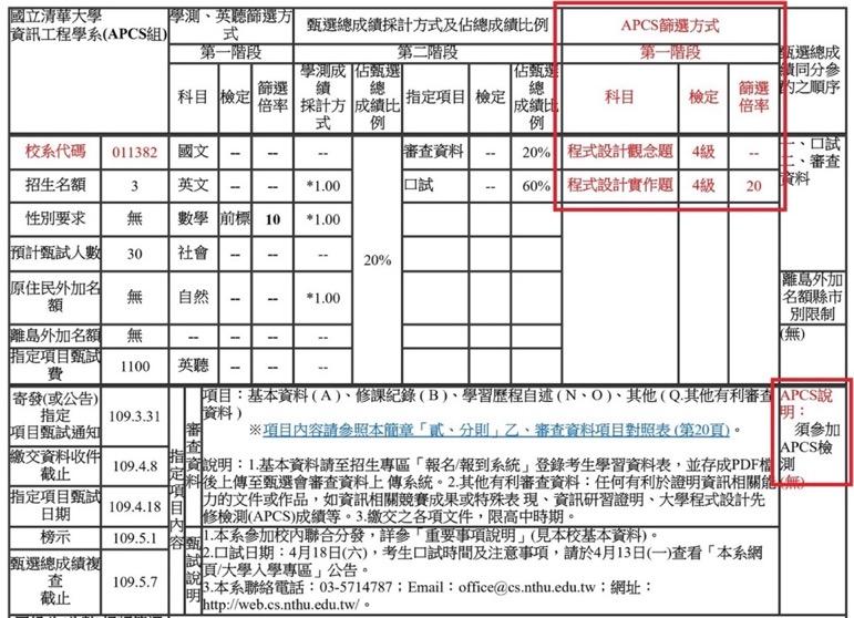 清華大學資訊工程學系APCS組簡章