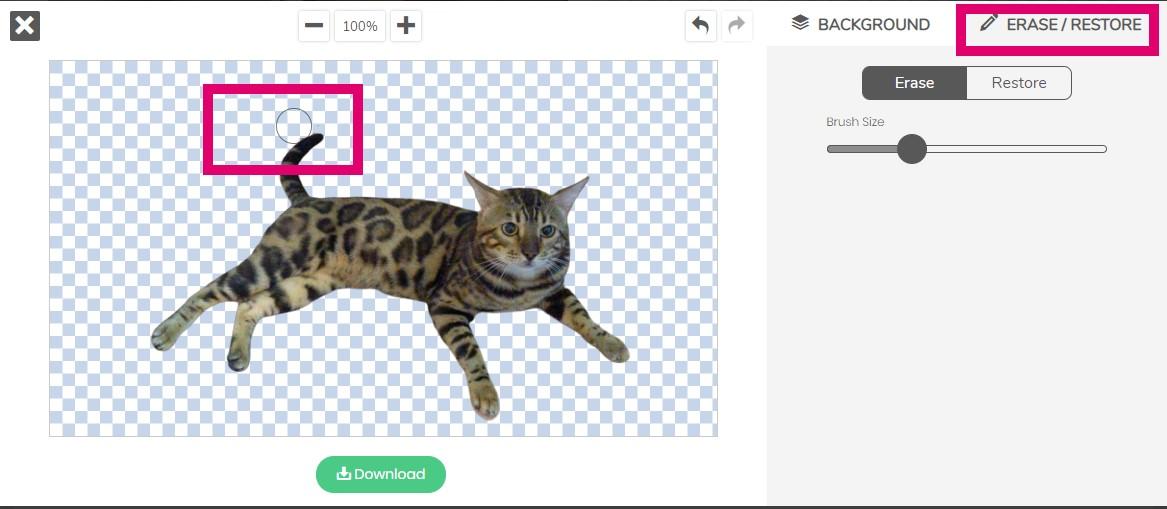 AI去背網站remove.bg幫孟加拉貓去背並使用橡皮擦工具的實例