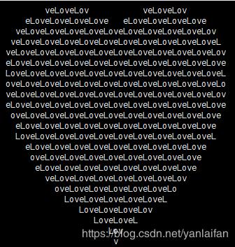 使用Python一行代碼就能畫出Love組成的心型代碼