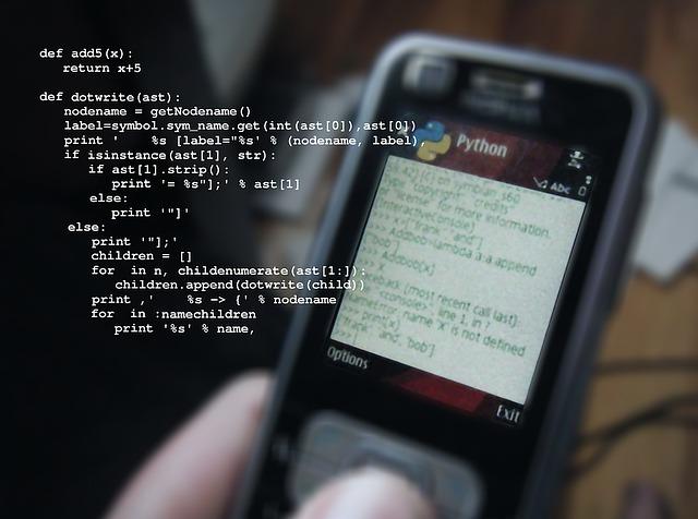 手機上撰寫Python程式碼示意圖