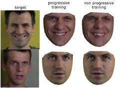 迪士尼的換臉AI經過progressive演算法前後比較圖