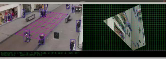 AI社交距離探測器的第一步「校正」示意圖