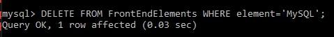 在cmd刪除MySQL其中一個內容