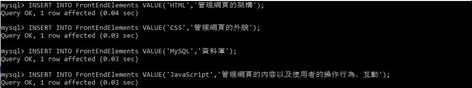 在cmd操作MySQL創建4個內容