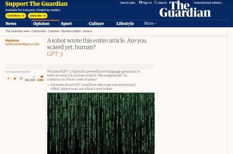 人工智慧寫「不想消滅人類」登《衛報》……記者將被 AI 取代?