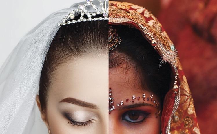 白人新娘與印度新娘的面部圖